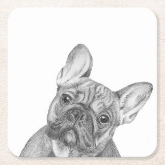 French Bulldog Square Paper Coaster