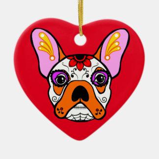 French Bulldog Sugar Skull Ceramic Heart Decoration