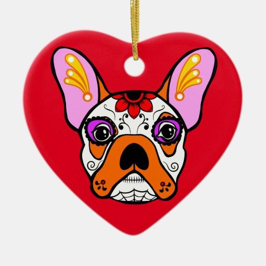 French Bulldog Sugar Skull Christmas Ornament