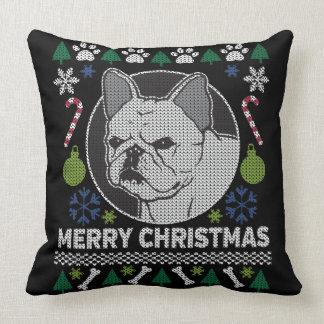 French Bulldog Ugly Christmas Sweater Dog Design Cushion