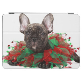 French bulldog wearing Christmas collar iPad Air Cover