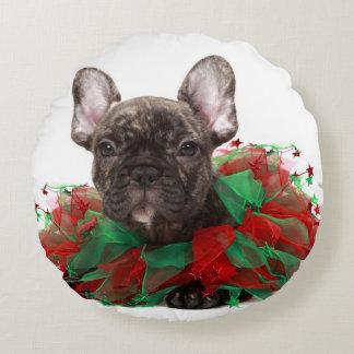 French bulldog wearing Christmas collar Round Cushion