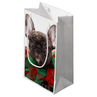 French bulldog wearing Christmas collar Small Gift Bag