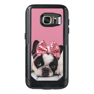 French Bulldog Wearing Pink OtterBox Samsung Galaxy S7 Case
