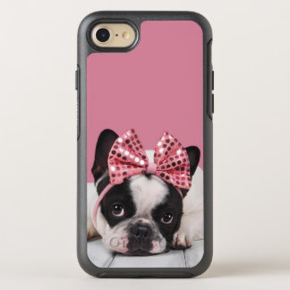 French Bulldog Wearing Pink OtterBox Symmetry iPhone 8/7 Case