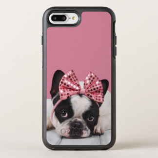 French Bulldog Wearing Pink OtterBox Symmetry iPhone 8 Plus/7 Plus Case