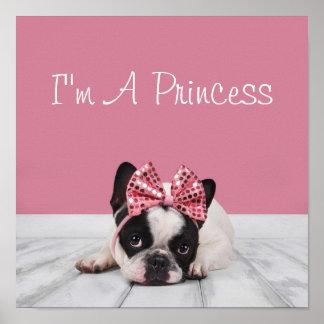 French Bulldog Wearing Pink Poster