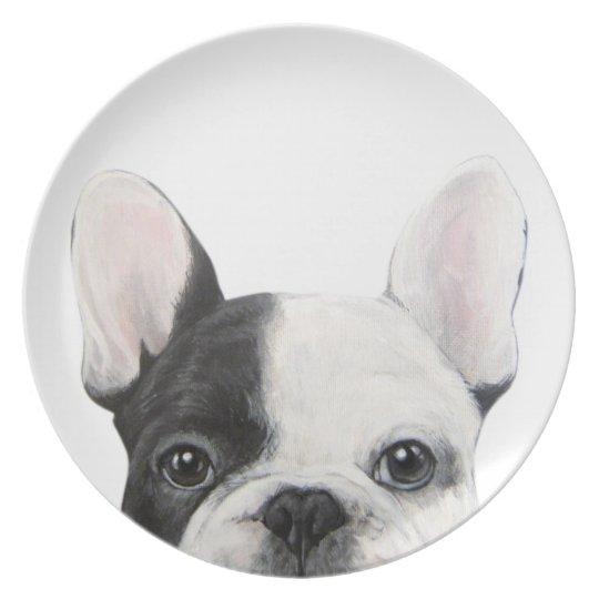 French Bulldog white and black Plate