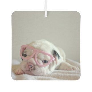 French bulldog white cub Glasses, lying on white Car Air Freshener
