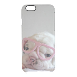 French bulldog white cub Glasses, lying on white Clear iPhone 6/6S Case