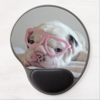 French bulldog white cub Glasses, lying on white Gel Mouse Mat
