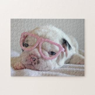 French bulldog white cub Glasses, lying on white Jigsaw Puzzle