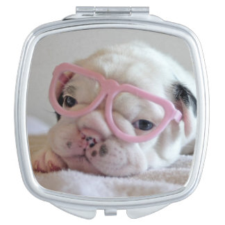 French bulldog white cub Glasses, lying on white Makeup Mirrors