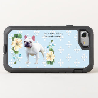 French Bulldog, White Diamonds on Blue Floral OtterBox Defender iPhone 8/7 Case