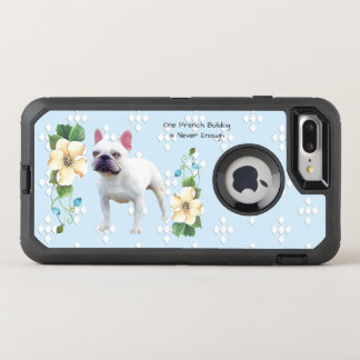 French Bulldog, White Diamonds on Blue Floral OtterBox Defender iPhone 8 Plus/7 Plus Case