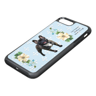 French Bulldog, White Diamonds on Blue Floral OtterBox Symmetry iPhone 8 Plus/7 Plus Case