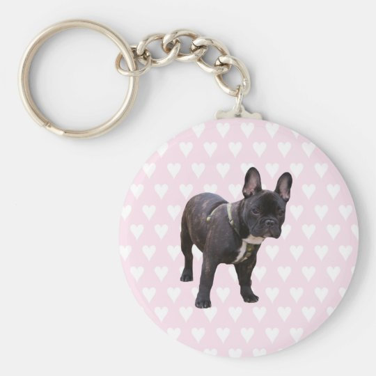 French Bulldog white & pink hearts keychain