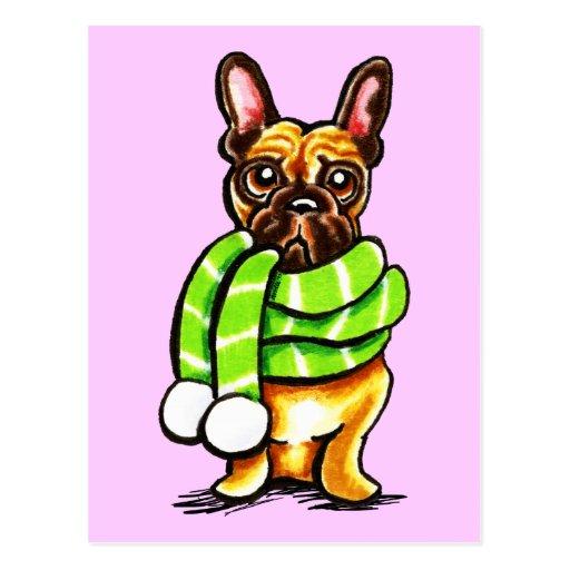 French Bulldog Winter Scarf Custom Color Post Card