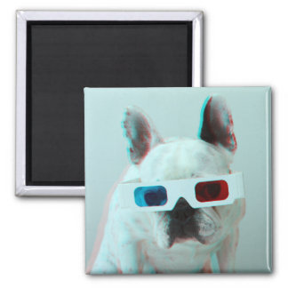 French Bulldog With 3D Glasses Magnet