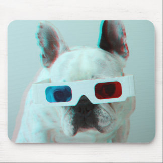 French Bulldog With 3D Glasses Mouse Mat