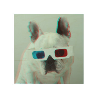French Bulldog With 3D Glasses Wood Wall Art