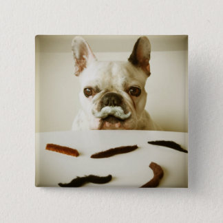 French Bulldog With A Mustache 15 Cm Square Badge