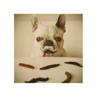 French Bulldog With A Mustache Wood Wall Art
