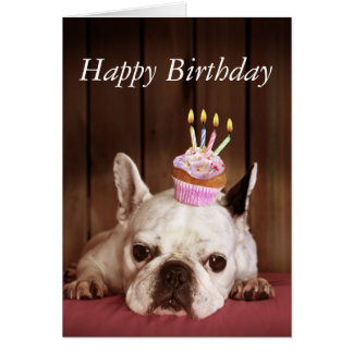 French Bulldog With Birthday Cupcake Card