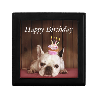 French Bulldog With Birthday Cupcake Gift Box