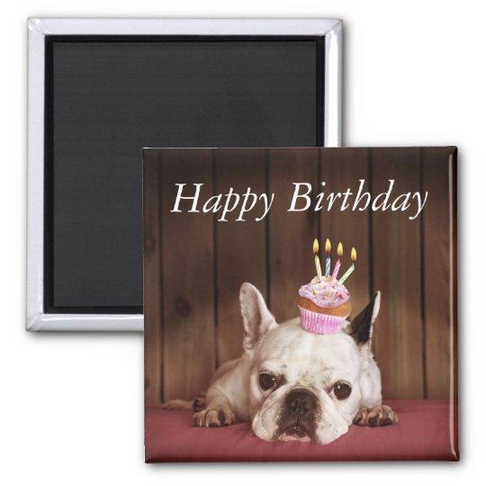 French Bulldog With Birthday Cupcake Magnet