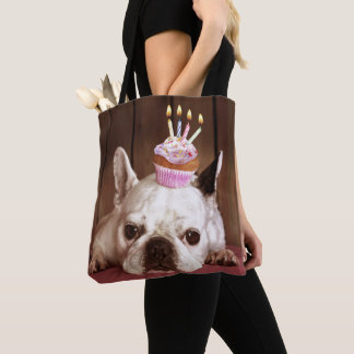 French Bulldog With Birthday Cupcake Tote Bag