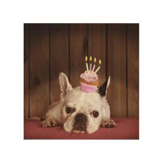 French Bulldog With Birthday Cupcake Wood Wall Art