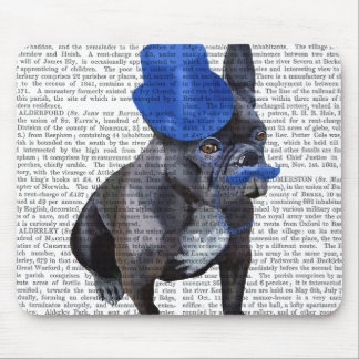 French Bulldog With Blue Top Hat and Moustache Mouse Pad