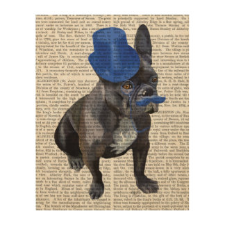French Bulldog With Blue Top Hat and Moustache Wood Print