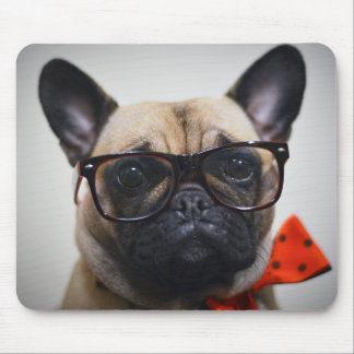 French Bulldog With Glasses And Bow Tie Mouse Mat