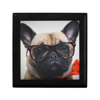 French Bulldog With Glasses And Bow Tie Small Square Gift Box