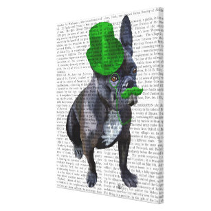 f087571a432 French Bulldog With Green Top Hat and Moustache Canvas Print