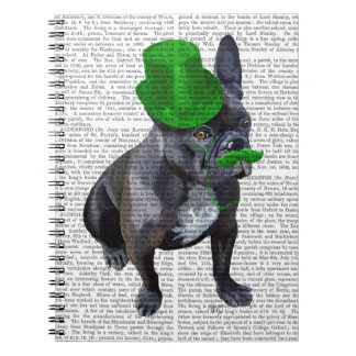 French Bulldog With Green Top Hat and Moustache Notebook