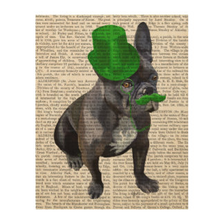 French Bulldog With Green Top Hat and Moustache Wood Wall Art