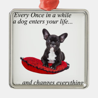 French Bulldog with heart and nice quote Silver-Colored Square Decoration