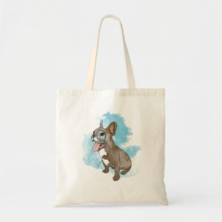 French bulldog with monocle and clouds tote bags