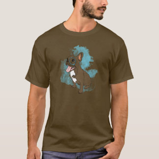 French bulldog with monocle and clouds T-Shirt