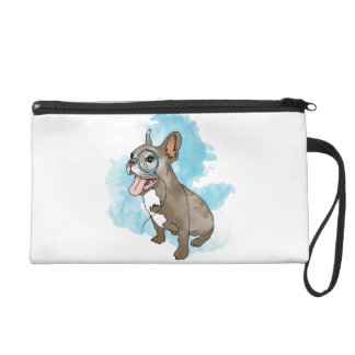 French bulldog with monocle and clouds wristlets