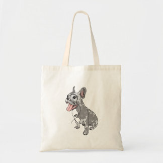 French bulldog with monocle tote bags