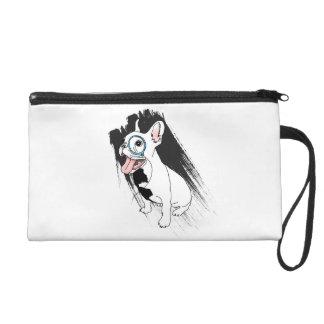 French bulldog with monocle on an ink stroke wristlet purses