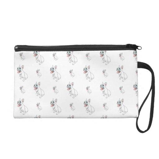French bulldog with monocle pattern wristlet clutch