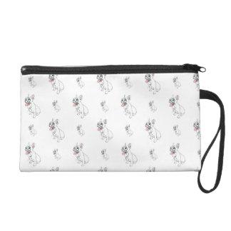 French bulldog with monocle pattern wristlet purse