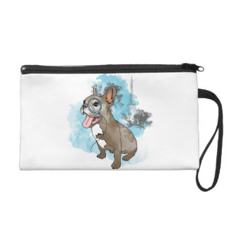 French bulldog with monocle wristlet purses