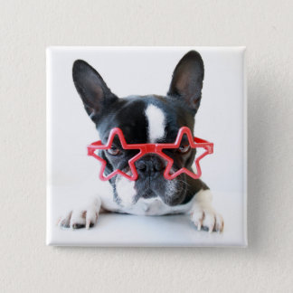 French Bulldog With Red Star Glasses 15 Cm Square Badge