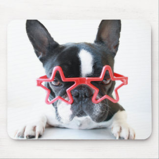 French Bulldog With Red Star Glasses Mouse Mat
